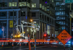 trolleybus electrical line work (pbo31) Tags: bayarea california nikon d810 color june 2018 boury pbo31 evening sanfrancisco city urban night dark black lightstream motion roadway financialdistrictsouth missionstreet muni bus sign construction crane road work ahead