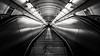 Perfect Metro Symmetry. (j૯αท ʍ૮ℓαท૯) Tags: symétrie symmetry blackandwhite metro prague tchéquie noiretblanc metal