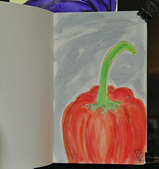 """Orange Bell Pepper"" (BKHagar *Kim*) Tags: bkhagar art artwork artday sketch drawing journal watercolor watercolour orange pepper bellpepper"