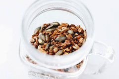 Homemade granola in a jar. Healthy food. (wuestenigel) Tags: wood glass natural sweet toasted breakfast grain brown background healthy granola diet mix delicious homemade cereal nuts meal white coconut bowl jar food vegetarian snack fresh milk health nutrition closeup product open wholesome nut fiber wooden seed muesli fruit rustic organic