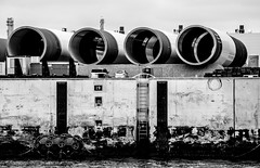 _DSC4356-2 (durr-architect) Tags: maasvlakte 2 rotterdam netherlands port authority sustainability ambition water sea dike beach terminal container automated guided vehicles agv quay cranes ship boat vessel train car locomotive monochrome sky railroad