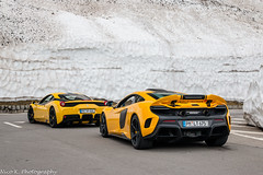 458 Speciale & 675LT (Nico K. Photography) Tags: ferrari 458 speciale combo mclaren 675lt rare yellow supercars snow nicokphotography switzerland grimselpass