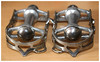 Campagnolo 1st. Generation Gran Sport Pedals. (Paris-Roubaix) Tags: campagnolo first generation gran sport pedals vintage italian bicycle components record vicenza made italy strap loop closed quill pedal