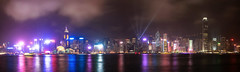Victoria Harbour from Tsim Sha Tsui (peter.heindl) Tags: panorama pano hong kong hongkong night victoria harbour tsim sha tsui avenueofstars kowloon skyline light show skyscraper