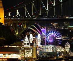 A bit of everything || Vivid 2018 (David Marriott - Sydney) Tags: lavenderbay newsouthwales australia au opera house vivid nsw 2018 luna park harbour bridge sydney light projection ferris wheel colour night nightscape train