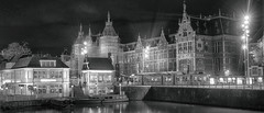 Centraal station Amsterdam in de steigers (ahwou) Tags: amsterdamcentraal centraalstation night blackandwhite amsterdambynight cityscapes dark ube