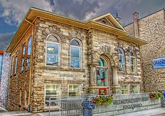Fergus Ontario - Canada - Wellington County Library - Carnegie Free Library (Onasill ~ Bill Badzo) Tags: grand river fergus ontario hdr canada wellington public library carnegie free downtown onasill guelph st andrew street heritage historic building architecture style beaux arts canon eos rebelsl1 18250mm macro sigma lens attraction tourist travel small town sky clouds