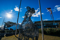 DSC00259 (Damir Govorcin Photography) Tags: public art pieces display sydney olympic park precinct spotless stadium home afl club gws giants sunburst sky natural light wide angle sony a9 zeiss 1635mm sculpture clouds