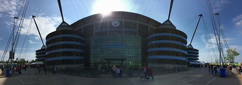 Panoramic Photo of Manchester City's Etihad Arena Football Stadium Building Exterior