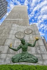 The Spirt of Detroit (DJ Wolfman) Tags: thespiritofdetroit detroit detroitmichigan metro detroitmi detroitarchitecture details sky blue statue michigan michiganfavorites sony 1635f4sony marshallfredricks