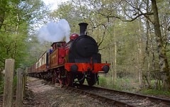 Visiting loco Metropolitan No.1 heading up the gradient through Epping Forest to North Weald. Epping Ongar Railway Steam Gala. 08 06 2018 (pnb511) Tags: train loco locomotive smoke steam carriages tree trees track eppingongarrailway trains heritage railway engine