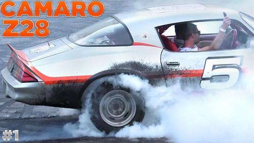 Muscle car rolling burnouts - loud camaro full throttle acceleration sound - part 1