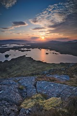 Sunrise and the three lochs (PoetheusFotos) Tags: landscape mountain hill sunset sunrise sun mystic lake loch scotland summer evening morning lakes water river island highland highlands dramatic nature far view distance rock grass horizontal
