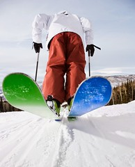 Stock Images (perfectionistreviews) Tags: image photograph color outdoors winter vertical adult copyspace wormseyeview rearview ski slopes slope snow steamboatsprings colorado 2025years fulllength leisure lifestyle midadultman onepersononly poles recreation sports boots sky tourism mountain sportsandrecreation usa