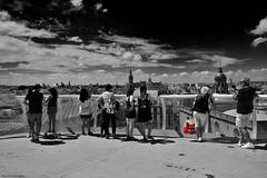 Desigual (ricardocarmonafdez) Tags: sevilla ciudad city cityscape urbanscape people mirador viewpoint lookout monocromo monochrome blackandwhite bn nikon selectivecolor light shadows sunlight contrast