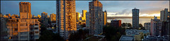 West End Panorama (HereInVancouver) Tags: urban city vancouverswestend outmywindows throughtheglass home sunsetlight panorama buildings vancouver bc canada mobilephonephoto samsunggalaxys6 unlimitedphotos ngc