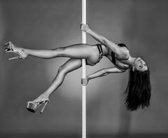 Giorgina - Rome (PS) (deste64) Tags: pole poledancing blackwhite studio studiolight photoshop model rome sexy dancer atlete giorgina