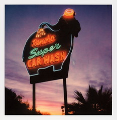 Rancho Super Car Wash 2 (tobysx70) Tags: polaroid originals color 600 instant film slr680 rancho super car wash us highway hwy 111 ranchomirage mirage california ca neon sign lit illuminated elephant dawn sunrise clouds cloud porn mojave desert polaroadtrip polawalk 030718 toby hancock photography