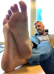 Office Feets (silvpix) Tags: dirty soles footsoles man guy beard jacket feet feets barefoot
