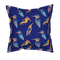 Kingfisher blue throw pillow by Paysmage (paysmage) Tags: paysmage kingfisher birds spoonflower roostery sproutpatterns fabric fabrics illustration watercolor aquarelle oiseaux martinpecheur blue wildlife sewing stiching seamless design designers designer pattern pod polyester cotton colorful collection print printondemand upholstery decoration homedeco home cushion coussin pillow throwpillow textile