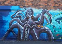 Cthulhu & Yellow Submarine (.annajane) Tags: liverpool merseyside graffiti streetart urbanart cthulhu octopus yellowsubmarine dime mural brick wall brickwall england uk