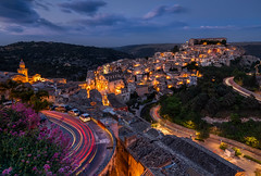 Ragusa Ibla (Sandro Bisaro) Tags: ragusa ibla ragusaibla sicilia sicily sizilien city cityscape night sandrobisaro longexposure lightstream lighttrails lights clouds flowers landscape landschaft italy italien italia sunset bluehour oldtown town langzeitbelichtung outdoor raod canon canon5dmarkiv canon2470mmf28liiusm cartrails cars carlights