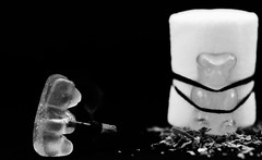 Settling of scores - Règlement de compte 2.0. Chamallow (Charlotte P.Denoel) Tags: ours detail grosplan closeup macro concept gumbears chamallow bonbon food contraste contrast candy fun bw blackandwhite nb noiretblanc