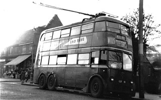 London transport B1 trolleybus 91 on route 654 Sutton Green 1959.