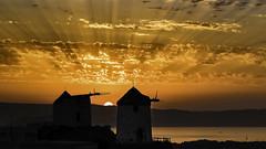 0E1A0677 Tilting at Windmills (foxxyg2) Tags: sun sunset sky rays orange glow windmills vivlos cyclades greece greekislands islandlife islandhopping naxos aegean