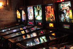 Pinball Lineup (dangaken) Tags: headquartersbeercade videogame pinballmachine pinball games gamer gaming bar beer neon chicagonightlife arcade play rivernorth chicagoil il illinois chicago headquarters dgaken dangaken photobydangaken