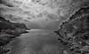 (283/18) Paisaje en blanco y negro (Pablo Arias) Tags: pabloarias photoshop photomatix capturenxd españa cielo nubes paisaje mar agua mediterráneo roca montaña árbol calagaldana menorca