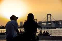Romance In Odaiba, Tokyo (El-Branden Brazil) Tags: japan japanese asia asian bridge romance love rainbowbridge odaiba sunset evening