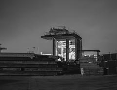 Build (ADMurr) Tags: la eastside bridge construction night 4x5 toyo kodak tmax 320 film lf steel dad514 black white sky bw