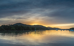 Sunrise Waterscape on the Bay (Merrillie) Tags: daybreak woywoy landscape nature australia foreshore newsouthwales earlymorning nsw brisbanewater mangroves trees boats morning dawn coastal water sky waterscape sunrise centralcoast bay outdoors
