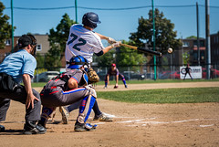 Belle frappe (Patrick Boily) Tags: baseball lanceur frappeur pitcher hitter ball quebec charlesbourg alouette club equipe match partie