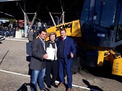 08/06/18 - Esteio/RS: entrega de maquinário com Governador Sartori. Prefeito Solimar Gonçalves, de Santana do Livramento, e o vereador Maurício Galo.