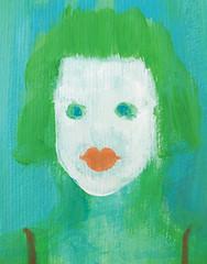 Greeny (sandra djurbuzovic) Tags: portrait sandradjurbuzovic acrylic painting paint art budva montenegro paper green greeny blue girl face hair white
