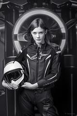 Victoria (dziurek) Tags: poland polsce motocycle session woman blackwhite helmet studio