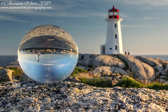 Peggy's Refraction 1 (sminky_pinky100 (In and Out)) Tags: peggyscove novascotia canada travel tourism omot cans2s landscape lensball refraction lighthouse atlanticcanada scenic pretty rocks coastal landmark glass ball