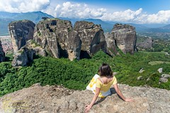 Meteora Rock Formations (Kostas Trovas) Tags: view rock rockformation composition landscape travelphotography nature meteora observatory outdoor hill kalambaka sightseeing majestic mountainpeak construction travel scenery hiking steep portrait greece woman tourism mountain valley exploring hillside mountainrange hiker cliff