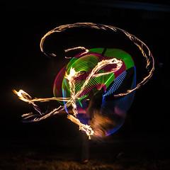 Sunday Night at the Lighthouse 5 (Santa Cruz Pictographer) Tags: hoop rainbow led leds light lights night dark long exposure color colors dancing dancer art hula hooping trails santa cruz