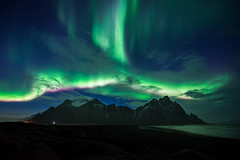 Green over Vestrahorn (modesrodriguez) Tags: green greenlights auroraborealis borealis stokksnes iceland travel water sky mountain blacksand beach landscape nightscape nightphotography