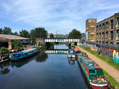 Canal boats moored up on the River Lea, Hackney Wick. (ho_hokus) Tags: 2018 hackneywick thecrate boats brewery bridge canal graffiti iphone5se water