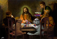 """Dogs Going to Hell"" (yfjnirrx72) Tags: rembrandt jesus emmaus renaissance poker dogs dogsplayingpoker cards margaritas drinking gambling parody satire funny irony spiritual"