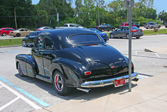 Chevy Hot Rod, Steak and Lube, Pinellas Park, Florida (3 of 3) (gg1electrice60) Tags: bestwingsusa car chevycoupe blackcar chevrolet usroute19 us19 quakersteakandlube quakerlube wings chickenwings wingjoint fastfood pinellaspark pinellascounty florida fl unitedstates usa us america nearlakeboulevard nearlakeblvd clouds bluesky sky partlycloudy cars trucks parkinglot signs canon40d canonflickraward 49thstreet 49thst fortyninthst fortyninthstreet streetrod licenceplate licenseplate platenumber3911 licenseplateno3911 licenceplate3911 floridaplate flplate redplate sunshinestate traffic heavytraffic reflections chrome