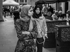 Watched (Leanne Boulton) Tags: people urban street candid portrait streetphotography candidstreetphotography candidportrait streetportrait streetlife woman women female girl face faces eyes expression mood emotion feeling watching hijab fashion style stylish tone texture detail depthoffield bokeh naturallight outdoor light shade city scene human life living humanity society culture canon canon5dmkiii 70mm ef2470mmf28liiusm black white blackwhite bw mono blackandwhite monochrome glasgow scotland uk