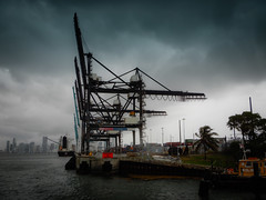 Port of Miami Cranes on Dodge Island - Miami FL (mbell1975) Tags: miami florida unitedstates us port cranes dodge island fl fla water bay inlet river ocean atlantic biscayne overcast cloudy harbor harbour terminal cargo