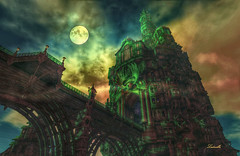 HeavenGate (Milla DelRay) Tags: sl secondlife fantasy thelookingglass sky sunset cloud clouds moon tower towers palace palaces castle castles bridge bridges