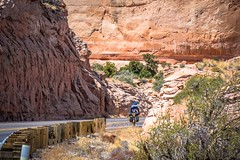 The canyons and cliffs are so deep they're like walls as we cycle near Vermillion Cliffs.