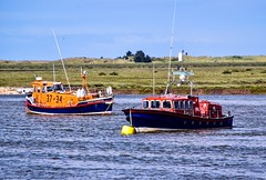 Lifeboats 37-34 and 38-01 (rustyruth1959) Tags: rope sky outdoor saltmarsh marsh grass radar navigation wind mooring buoy restored lochin rotherclass starboard port aerial deck hull caisterlifeboat rescue independentlifeboat rnlb rnli 3801 3437 northsea floating boats bernardmatthews horaceclarkson lifeboats sea water coast wellsnextthesea norfolk uk tamron16300mm nikond5600 nikon alamy
